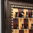 Red Cherry board with Checkered Bronze frame and option on chess pieces