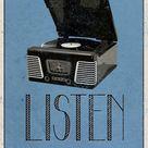 'Listen Retro Record Player Art Poster Print' Prints    AllPosters.com