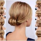 Chic Low Rolled Updo Hairstyle