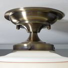 Semi Flush Ceiling Light. Vintage Painted Shade. New Fixture Base.