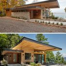 A Contemporary Cottage With A Cantilevered Roof Overlooks A Lake In Canada