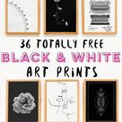 36 Free Black & White Art Prints for Your Home!