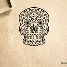Sugar Skull Rubber Stamp - 2 x 2 inches