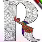 Letter R Coloring Page  Inspired by the font Deutsch | Etsy