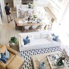 Gorgeous coastal-inspired family room. #beachhouse #coastaldecor #beachdecor #interiordesign #beachy #beachcottage #familyroom