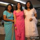 Indian Girls in Pink White Sky Blue Saree