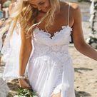 Romantic Sweetheart Chiffon Beach Wedding Dress With Lace PG201