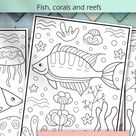 Coloring book pages for children | Illustrations with fish, corals and reefs | Sea, Marine life