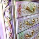 Boho Furniture, Gray Gold Nightstand, Pink Purple Accent Table, Whitewashed Furniture, Purple Gold Cabinet