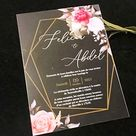Blush Peony,Red Rose Flower,Custom Acrylic Wedding Invitation,Gold Acrylic Birthday Invites,Acrylic Anniversary Invitations, Acrylic Party Invitations,10pcs
