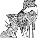 Hand drawn Fox with young child pattern for adult coloring page..