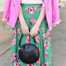 Green Floral Birdcage Midi Skirt