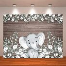 Crefelicid 7x5ft Flower Baby Shower Backdrop White Elephant Cotton Wooden Boy Girl Gender Reveal Birthday Party Decorations for Photography Studio Banner