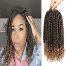 Fayasu Spring Senegalese Twist Crochet Braids Curly End Crochet Hair Extension for Black Women 12 Inch 6 Pieces - 12inch(6 PACKS) / T27