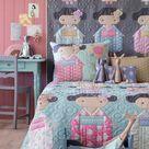 TILDA KIMONO GIRLS Quilt in Grey Kit with Backing | Tilda Happy Campers | Free Tilda Quilt Pattern | 62.5