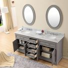 Water Creation 72 Inch Cashmere Grey Double Sink Bathroom Vanity With Matching Framed Mirrors And Faucets From The Derby Collection