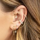 DIAMOND BEZEL DROP SLIM HOOP EARRING