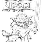 Yoda holding lightsaber coloring pages