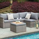 6 Seater Rattan Corner Sofa & Footstool Garden Furniture Set