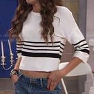 KC's white striped sweater on KC Undercover