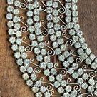 Vintage Rhinestone Collar Choker Necklace with 600 Rhinestones and Lace Filigree. Wedding Jewelry.