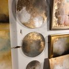 Moon Round Abstract Painting Gold Grey -