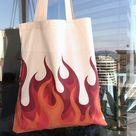 Flame Tote Bag, Organic Cotton Canvas Block Printed Tote Bag, Shopping Bag, Japanese Art, Korean Design, Flame Design