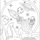 Girl dream space travel - Zen and Anti stress Coloring Pages for Adults - Just Color
