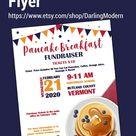 EDITABLE Pancake Breakfast Fundraiser Flyer Poster Set, pto pta, Church Charity Community School Ben