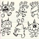 Doodle Sketch Monster Alien Vector Set