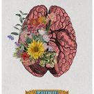 Spring Sale Think, Human Brain Poster, anatomical art, brain art, flower decor, doctor medical Human