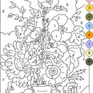 COLOR BY NUMBERS * FLOWERS coloring page