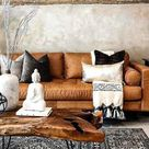 dark brown leather couch living room pillows