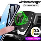 FDGAO 10W Fast Qi Wireless Charger Gravity Car Phone Holder 360 ° Rotatable Charging Stand for Iphone 8/8P/X/XS/XS Max/XR Samsung Galaxy S10/S9/S8/S7