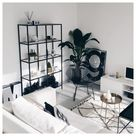 black and white lounge room