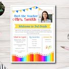 Meet the Teacher Flyer Template, About the Teacher Flyer, Welcome to School, First Day of School, School Open House, Easy to use template