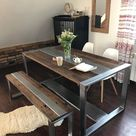 Industrial Steel & Reclaimed Wood Dining Table and Bench Set   Rustic Kitchen Table