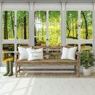 Vlies Fototapete Fensterblick 3D EFFEKT Wald Natur Landschaft Wohnzimmer XXL 834 • EUR 14,90