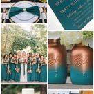 Teal and Gold Fall Wedding, Teal Bridesmaid Dresses,Gold Table Setting