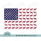 Vizsla dog silhouette svg - American Vet US flag with dog paws svg files for Cricut Silhouette Sizzix