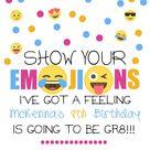 Emoji Birthday Invitation, Emoji Birthday Invitation   Digital file