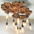 Large Live Edge Olive Wood Slab Chandelier Light Fixture  Modern/Industrial/Rustic/Earthy