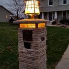 Craftman Style Lighted Stone Column Mailbox