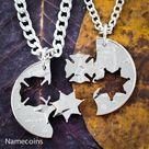 Firefighter and Sheriff Brothers Necklaces, Law Enforcement Badge and Fireman Cut Coin