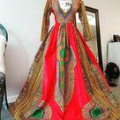 Elegant Ankara Full Length Dashiki Dress, African Print Maxi Dress (Please Read Full Description)