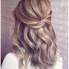 bridesmaid hair long half up simple