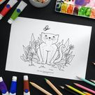 Cat printable colouring page, Cute kitten and butterfly digital download coloring poster