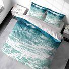Aqua Bayside Bliss Luxurious 100% Cotton Sateen Coastal Duvet Cover Set. - Double/Full Duvet Cover + 2 Standard Pillow Shams