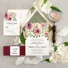 Mauve and purple wedding invitation, Floral and greenery wedding invitation, Garden wedding, Calligraphy invitation Sample invitation set