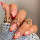 Rainbow flower nails cute  Press on nails Stiletto Nails  False nails  Glue on nails  Acrylic nails  pointy nails Kawaii Nails